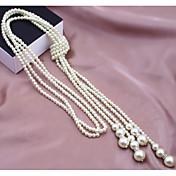 Mujer Strands Collares Collar con perlas Perla Perla Artificial Legierung Moda Multi capa joyería de disfraz Joyas Para Boda Fiesta