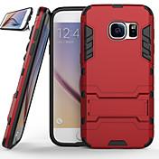 Para Samsung Galaxy S7 Edge Carcasa Funda Antigolpes con Soporte Cubierta Trasera Funda Armadura Policarbonato para SamsungS7 edge S7 S6