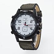 Men's Women's Unisex Wrist watch / Quartz PU Band Casual Black Blue Brown Green Purple Khaki