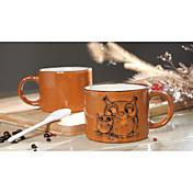 손으로 그린 세라믹 컵 큰 잔 성격 커피 컵 복고풍 레스토랑 차 컵 300 ml의