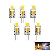 6pcs / lot g4 2w 1cob 100-150 lm dimmable blanco caliente / fresco mr11 llevado bi-pin luces dc / ac 12 v