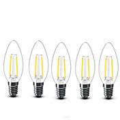 E14 Luces LED en Vela C35 2 COB 200 lm Blanco Cálido Decorativa AC 100-240 V 5 piezas