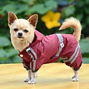 강아지 레인 코트 강아지 의류 방수 솔리드 옐로우 레드 그린