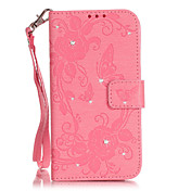 For iPhone 5 Case Wallet / Rhinestone / with Stand / Flip / Embossed Case Full Body Case Butterfly Hard PU Leather iPhone SE/5s/5