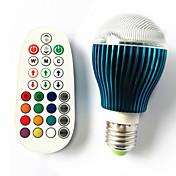 9 GU10 / B22 / E26/E27 LED 글로브 전구 A60(A19) 3 고성능 LED 450 lm RGB 밝기 조절 / 음향 작동 / 리모컨 작동 AC 100-240 V 1개