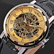 WINNER 남성 스켈레톤 시계 손목 시계 기계식 시계 중공 판화 메카니컬 메뉴얼-윈딩 PU 밴드 멋진 블랙