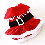고양이 개 코스츔 드레스 강아지 의류 겨울 모든계절/가을 솔리드 귀여운 코스프레 크리스마스 레드