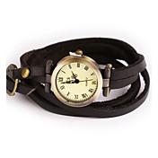 Damen Modeuhr Armbanduhr Armband-Uhr Quartz / Leder Band Vintage Böhmische Armreif Bequem Cool Schwarz Schwarz Beige Kaffee