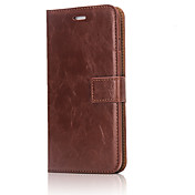 For Card Holder / Wallet / with Stand Case Full Body Case Solid Color Hard Genuine Leather AppleiPhone 7 Plus / iPhone 7 / iPhone 6s