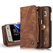 용 지갑 카드 홀더 스탠드 플립 케이스 풀 바디 케이스 단색 하드 천연 가죽 용 Samsung S8 S8 Plus S7 edge S7