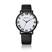 아가씨들 패션 시계 손목 시계 캐쥬얼 시계 / 석영 가죽 밴드 캐쥬얼 블랙 화이트