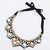 여성용 초커 목걸이 모조 다이아몬드 Geometric Shape 아크릴 합금 밝은 브라운 보석류 용 파티 일상 캐쥬얼 1PC