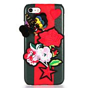 Para Manualidades Funda Cubierta Trasera Funda Flor Mariposa Dura Cuero Sintético para AppleiPhone 7 Plus iPhone 7 iPhone 6s Plus iPhone