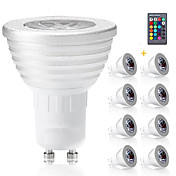 3W E14 GU10 GX5.3 E27 LED 스팟 조명 MR16 1 통합 LED 300 lm RGB 밝기 조절 리모컨 작동 장식 AC 85-265 V 8개