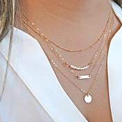 Mujer Collares de cadena Collar con perlas Collares en capas Forma de Círculo Perla Legierung Moda Multi capa Personalizado joyería de
