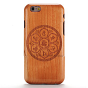 For apple iphone 6 6s en relieve pattern case back cover case madera de mandala de grano madera dura sólida