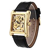 WINNER Hombre Reloj de Pulsera El reloj mecánico Cuerda Manual Huecograbado PU Banda De Lujo Negro Dorado Negro