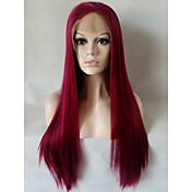 Mujer Pelucas sintéticas Encaje Frontal Medio Largo Liso Vino oscuro Peluca natural Las pelucas del traje