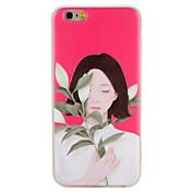 사과 아이폰 7 플러스 7 양각 패턴 뒷면 커버 케이스 섹시한 여자 꽃 부드러운 tpu 6s 플러스 6 플러스 6s 6 케이스