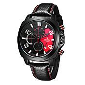 Hombre Reloj Deportivo Reloj de Moda Japonés Cuarzo Cronógrafo Resistente al Agua Cuero Auténtico Banda Negro