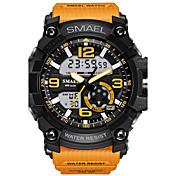 남성용 스포츠 시계 패션 시계 디지털 시계 손목 시계 디지털 LED 방수 듀얼 타임 존 경보 고무 밴드 위장 멋진 블랙