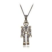 lureme®vintage Legierung Zirkon Schädel Robotermuster Halskette (Bronze)