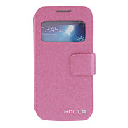 For Samsung Galaxy Case with Stand / with Windows / Flip Case Full Body Case Solid Color PU Leather Samsung S4 Mini