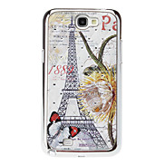 Text and Eiffel Tower Patten Sequins Starry Diamond Texture Back Case for Samsung Note 2 N7100