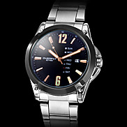 Men's Black Case Calendar Function Steel Analog Quartz Wrist Watch (Silver)