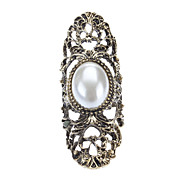 Europe Exaggerated Personality Ring Hollow Carved Pearl Green Patina Joint Ring