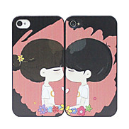 Cartoon Lovers Pattern Couple Back Case for iPhone 4/4S(2PCS)