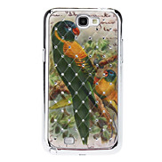 Trees and Parrots Sequins Starry Diamond Texture Back Case for Samsung Note 2 N7100
