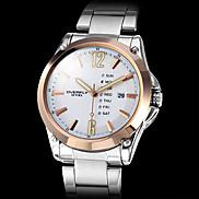 Men's Gold Case Calendar Function Steel Analog Quartz Wrist Watch (Silver) Cool Watch Unique Watch