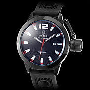 Men's Black Case Silicone Analog Mechanical Wrist Watch (Assorted Colors)