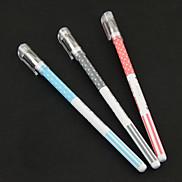 Usa Dot Pattern Black Ink Gel Pen(Random Color)
