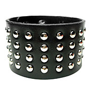 Eruner®Punk Style Round Rivet Leather Wide Bracelet(Assorted Color)