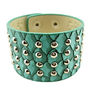 Eruner®3D Blue Snake Round Rivet Leather Bracelet