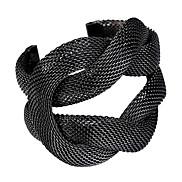 Black Weave Open Cuff Bracelet