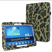 Fashion Camouflage PU Leather Full Body Case with Strap and Sticker for Samsung Galaxy Tab 3 10.1 P5200