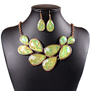 Fashion Exaggerated Waterdrop Silicone  Alloy (Necklaces&Earrings&) Gemstone Jewelry Sets(More Color)