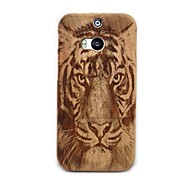 Tiger Pattern Detachable Protective Wood Back Case for HTC M8 - Wood