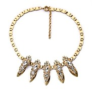 Oval Rhinestone Copper Plated Alloy Necklaces (1 Pc)