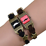Galaxy Retro Handmade DIY Lover Time Multicolor Alloy Glass Leather Warp Bracelet(1 Pc)(Black,Brown)(As Picture 10)