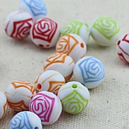 Z&X®  DIY Beads Material Colored Retro Flower Printed Beads 30 PCS(Random Color, Pattern)
