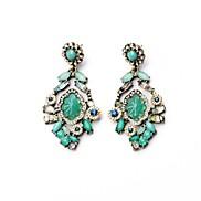 Beautiful Green Flower Alloy Drop Earrings (1 Pair)