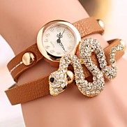 Women'a Snake-Shaped Bracelet Leather PU Watch(Assorted Color)