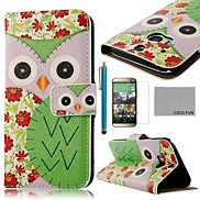 COCO FUN® Green Flower Owl Pattern PU Leather Full Body Case with Screen Protector, Stylus and Stand for HTC One M8