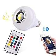 12W E27 RGB LED Lamp Bluetooth Music Speaker lamp 1000 lm Remote-Controlled Decorative Dimmable AC100-240V RGB controller Three Generations 1 pcs