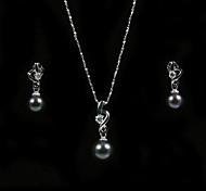 herrlich 14k/20 schwarz 7,5 - 8mm Süßwasser Perlenkette und Ohrringe Set