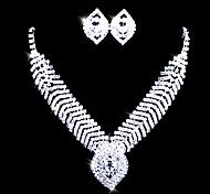 collana di strass in lega di collare e sposa set orecchino gioielli